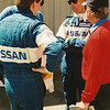 IMSA Nissan Camel Grand Prix of Road Atlanta, April 1983; Chip Robinson (USA) and Geoff Brabham (AUS) appropriately sporting aviator eyewear prior to piloting Electramotive Engineering's No.83 Nissan GTP ZX-T (Chapman chassis No. 88-01) to a 34-second victory after starting from 3rd.