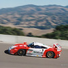 FIA GT Championship 3-hour race, Laguna Seca, October 1997. The JB Racing Porsche 911 GT1 (chassis Nr.109) of Emmanuel Collard (F) & Mauro Baldi (I) climbs the hill to Corkscrew. Q15; F13 (7 laps back) — at Mazda Raceway Laguna Seca.