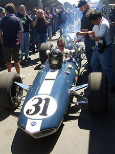 SMELLING HISTORY -- Once can almost smell the exhaust as one of Dan Gurney's open-wheel racers from the 1960s is fired up before taking to Mazda Raceway's twisty road course.