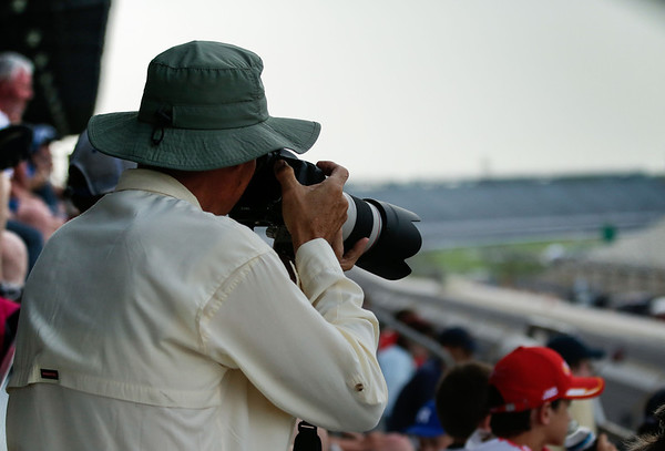 From the stands with a Canon 70-200 F2.8 with 1.4x