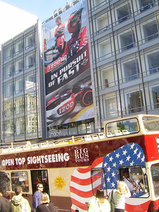 IN PURSUIT OF FAST -- A banner promoting IndyCar title sponsor IZOD dominates the front of Macy's across from Union Square.