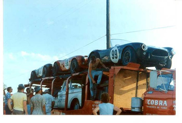 The meager beginnings of Shelby Racing. That's Ken Miles loading up the Cobras in 1963 at Lake Garnet Kansas after thoroughly trouncing their competitors. I personally watched this go down. Little did I realize what was to come!