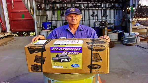 Brian proudly displays his new American quality winch for Jeep Wrangler ARB winch bar.