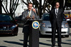California governor Arnold Schwarzenegger pleading for a greener future on wheels. (In front of the L.A. Convention Center, November 15, 2007)