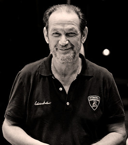 Lamborghini's former chief test driver and now ambassador-at-large Valentino Balboni. lamborghini collection