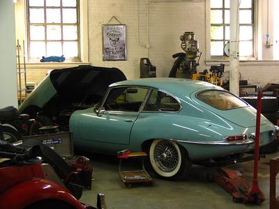 Jaguar XK-E in the workshop