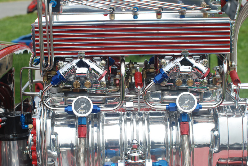 Engine detail of a 1941 Willys hotrod. 2010 Newport RI Concours. Got chrome?