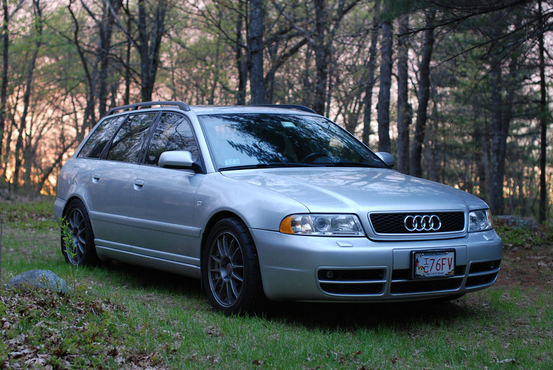 2001 Audi A4 quattro avant, OZ wheels, lowered suspension, S4 front bumper, side skirts. Needham town forest, one of my favorite locations for automotive photography...when the lighting is right.