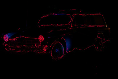 This is actually the last shots. Sue got me to try out painting with light. She went around the car w/ a red light for three exposures (we need to get her to stay in the lines LOL) and then I layered them together for this final pic! It was really fun and I will have to play w/ this technique again!