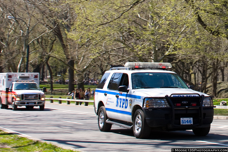 NYPD and FDNY ambulance responding in Central Park.
