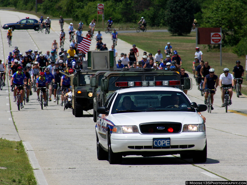 Suffolk County Police escorting riders at Jones Beach for a Wounded Warrior ride.