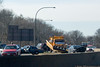 New York State Police and Nassau County Highway Patrol at the scene of a crash on the Northern State Parkway in Syosset.