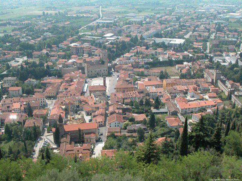 Marostica from upper castle - piazza just left of center and a bit of wall visible at extreme right.