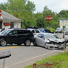 Two vehicles were involved in a head on collision in front of the Harley-Davidson dealership on Rte 12 in Leominster on Monday afternoon.  SENTINEL & ENTERPRISE/JOHN LOVE