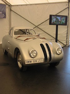 BMW 328MM Coupe by Touring. This is a replica of the car that won the 1940 Mille Miglia road race. It uses BMW's 2.0 liter 6-cylinder and a body designed by Touring of Milan -- a combination good for 120mph.