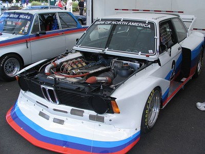 """BMW 320i Turbo. The famous """"Flying Brick"""" IMSA car from the late-1970s. Driven by a fearless David Hobbs, the 320i Turbo featured an early version of the engine that powered the Brabham Formula One car to a World Championship in 1983. A 2.0-liter, 900hp monster that unfortunately was not running this year."""