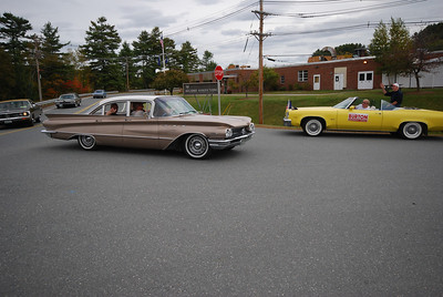 David enters the parade launch area in his '60 Buick Invicta.  Dennis is behind him in his '72 Chrysler New Yorker.