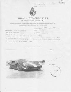 1968 FIA homologation by the Royal Automobile Club. Recognition No. 240