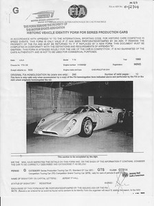 FIA Historic Vehicle Identity Form by the Motor Sports Association, UK. FIA No. 01/2914