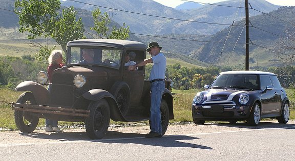 The MINI pauses just outside of Deer Creek Canyon to admire one of several vintage vehicles we followed for awhile. This group was out for a Sunday drive in the hills, just like us -- though at a slightly slower pace.