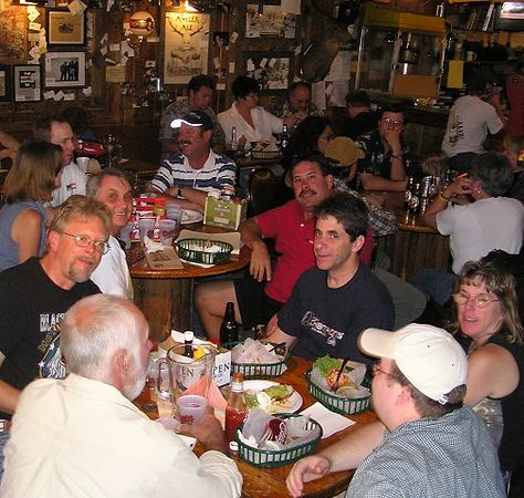 """Most of today's motors (and a few other patrons) enjoying lunch inside this """"unique"""" place."""