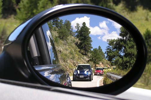 The passenger's view of the following MINIs.