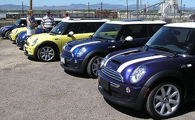 MINIs waiting for the start of today's ride into the foothills west of Denver. The MINI5280.org is the motoring society of the Rocky Mountain Region.