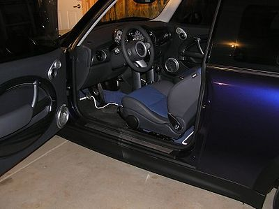 The door opens wide to reveal the cockpit. The darker lighting makes the Purple Haze color look a little like a dark blue.