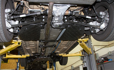 This is a view from the rear showing the coverage of the skid plate and how far back it extends.