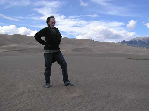 Wendy pauses after some sand dune hiking.