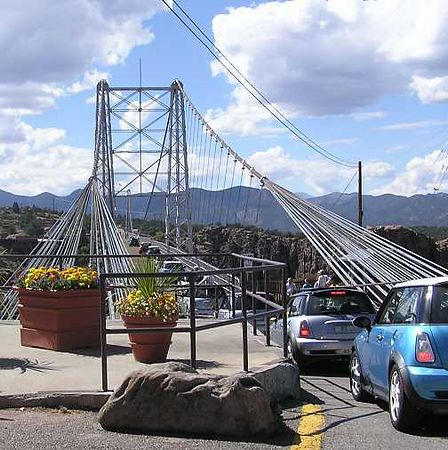 The MINIs heading west on the Royal Gorge Bridge.