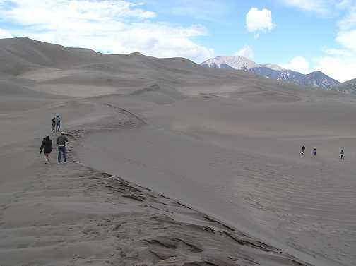 Plenty of sand for everyone. The Great Sand Dunes is the last stop of the day and most of the group will be staying in Alamosa and a few camping at the dunes.
