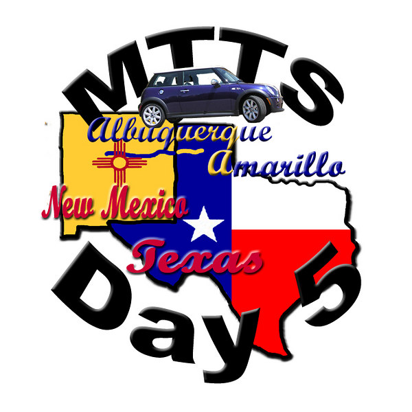 The MINI Takes The States (MTTS) road trip across america. Day 5 is from Albuquerque, NM to Amarillo, TX. I created this special graphic and made it into buttons (pins) to hand out to people on the tour.