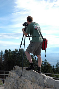 Kendall and his trusty tripod perched atop this rock.