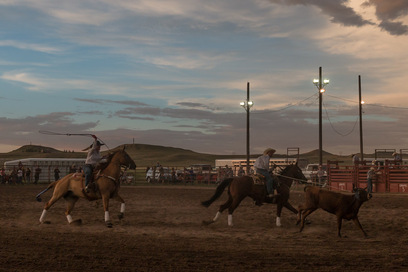 A rodeo under the lights, with mixed team roping...