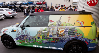 MINI of SF decorated this Clubman Van with San Francisco scenes and the new MINI dealership location - coming soon.
