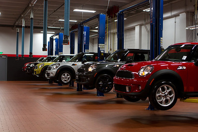 Many of the MINIs were proudly on display in the expansive service area.