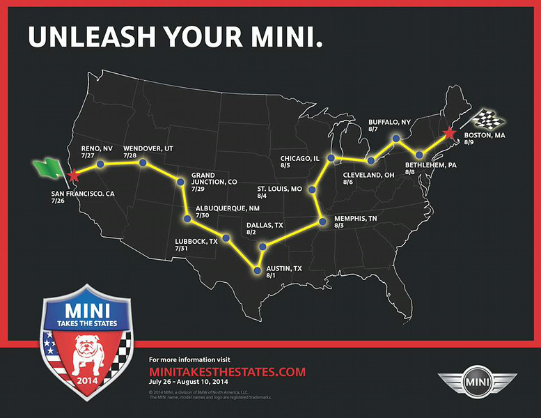 """MINI Takes The States (MTTS) 2014 is a cross-country road trip of MINI Cooper enthusiasts. We will join MTTS in Grand Junction, CO and hop off the trip after Dallas. We'll start our trip in Denver, overnight in Snowmass Village then join MTTS in Grand Junction.  <a href=""""http://www.MINITakesTheStates.com"""">http://www.MINITakesTheStates.com</a>"""