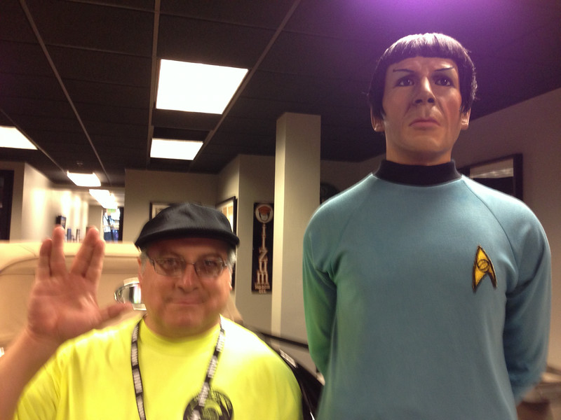 Mr. Spock was standing on a box, making him look very tall at the Allen Museum in Grand Junction.