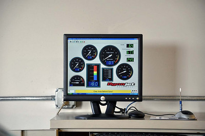 Virtual gauges (RPM, spark advance, temperatures, etc) used by the techs during the dyno runs.