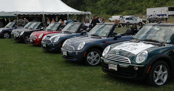 A fleet of seven MINI convertibles standy at the ready.