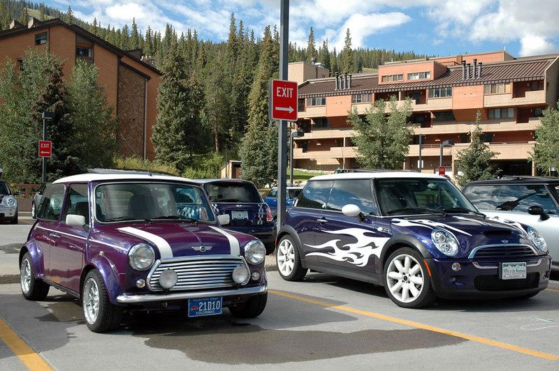 The purple pair: Kenn's classic Mini (left), next to Lynn's Spike.