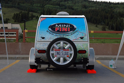 Rear view of the MINI-FINI teardrop trailer.