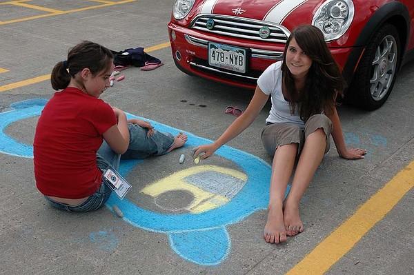 Chalk art in work.
