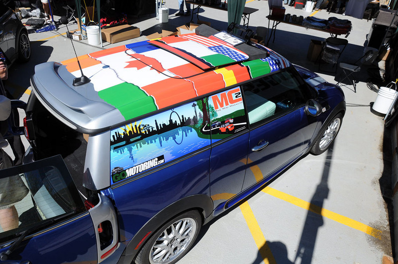 "MITM Day 2. The MC2 Magazine MINI Clubman sporting the ""flags of the world"" roof graphic."