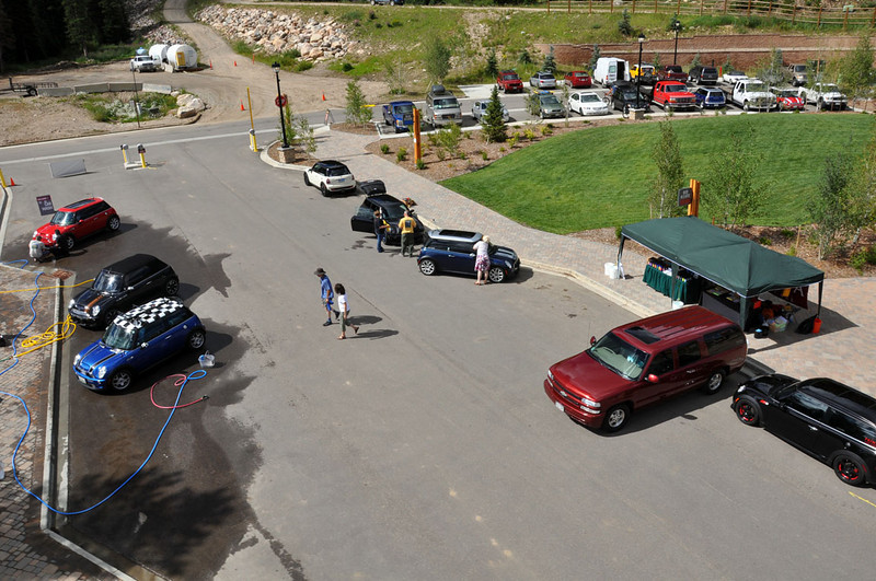 MITM Day 1. Aerial view (from the gondola) of the MITM DIY Car Wash.