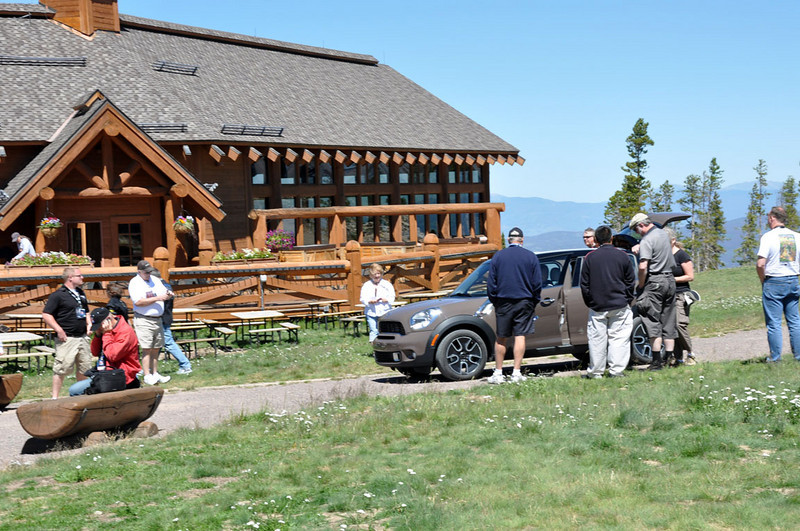 MITM Day 2. At the top of the mountain (one of them) is the Lodge at Sunspot (Winter Park ski resort). The newly announced MINI Countryman is on display.