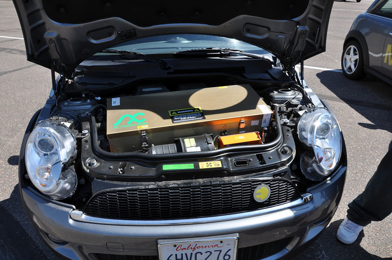"""MTTS Day 3. The """"engine"""" of the MINI E. Most of the secret equipment is encased in a strong box."""