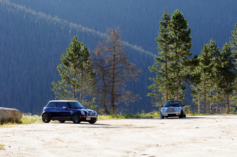 MITM Day 3, MTTS Day 2. Rick and Jonathan stake out a tight turn for photos on the southbound side of Berthoud Pass.
