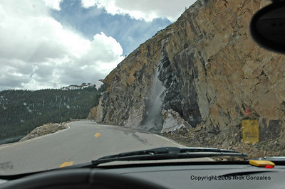 The shelf-like highway without a guard rail on the east approach to Independence Pass.
